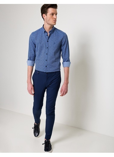 Pierre Cardin Desenli Slim Fit Gömlek Mavi